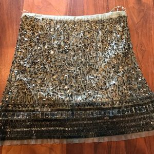 Olive green beaded mini skirt